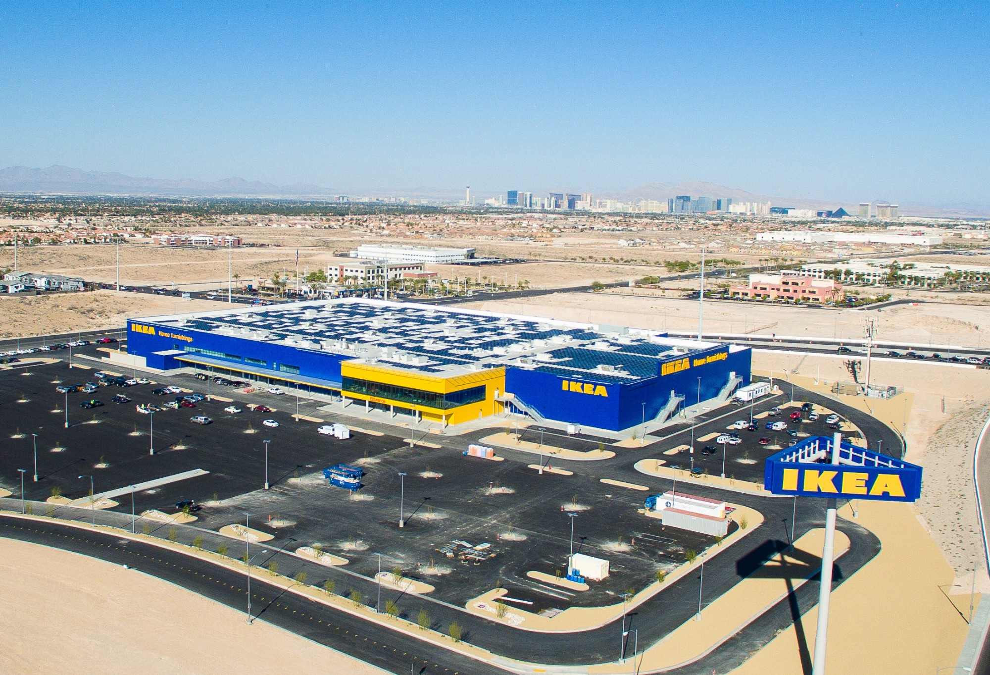 solar installation complete atop future ikea las vegas will be nevada s largest single use. Black Bedroom Furniture Sets. Home Design Ideas